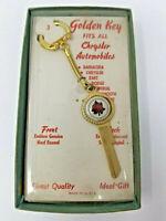 Vintage Chrysler Golden Key Blank Cars Enamel Rose Gold Chain 1960s