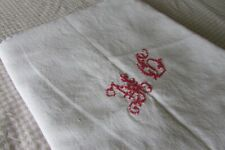 Antique French Handloomed Metis Linen Tablecloth Mono MG 6ft x 5ft c1890s