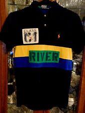 Ralph Lauren VTG  S M Blue Polo RL Rafting Rugby #34 Men Short Sleeve Shirt