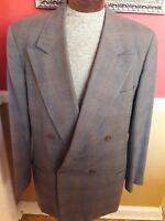 Giorgio Armani Double Breasted Black Label Suit EU 54 US 44 Gray Brown
