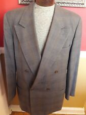 Giorgio Armani Double Breasted Black Label Suit EU 54 US 44 Gray Brown