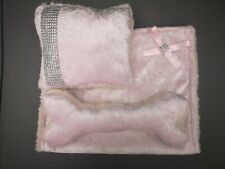 Puppy 3 Piece Starter Pack , bone , blanket , cushion , pink velvet