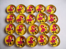 GLASS GEMS HP  PARTY FAVORS mini art  pink flamingos on yellow flamingo