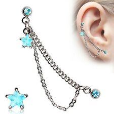 1 - Aqua CZ Gem Star Double Chained Cartilage Ring Dangling Stud Earring A90