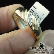 MEN'S WOMENS 10K 100% REAL YELLOW GOLD 3 STONE GENUINE DIAMOND WEDDING RING BAND