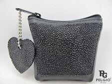 PELGIO Real Genuine Stingray Skin Leather Zip Coins Wallet Pocket Purse Black