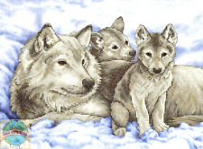 Cross Stitch Kit ~ Dimensions Winter White Mother Wolf & 2 Pups #13130