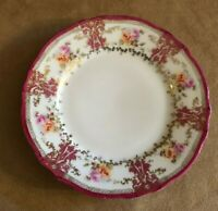 """6"""" Rose Antique CT Germany Hand Painted Plate Carl Tielsch floral pink china"""