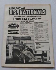 Vintage 1982 28th NHRA Nationals Official Entry List Booklet Drag Racing Program