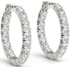 5.52 carat Round cut Diamond 14k White Gold Hoop Earring, 22 x 0.25 ct 3/4 inch