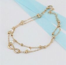 Women's Fashion Jewelry Gold Plated Beads Infinity Anklet Ankle Bracelet 29-8