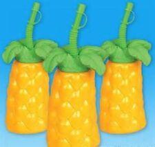 "2 PALM TREE CUPS 7"" TALL 16 oz Luau Party Free Shipping"