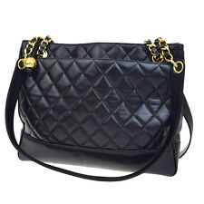 Authentic CHANEL CC Quilted Chain Tote Shoulder Bag Leather Black France 99B624