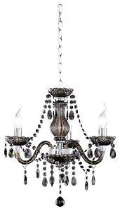 Lamp Spider Ceiling Fiber Acrylic 3 Light Bulbs 40 W 3 Arms Black New