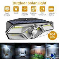 104LED Waterproof Solar Power Light PIR Motion Sensor Garden Yard Path Wall Lamp