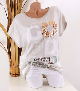 Italy 36 38 40 Shirt beige Damen Tunika Good Print Glitzer Blume Seide Optik
