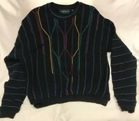 VINTAGE Tundra Canada Multi-Color Cotton Sweater Mens 2XL Cosby Biggie Hip Hop