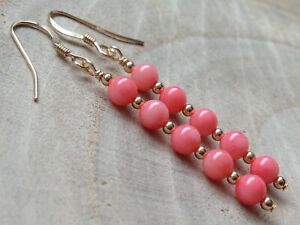 Beautiful Round Pink CORAL 14ct Rolled Gold Drop Earrings
