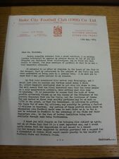 15/05/1963 Stoke City: Official Letter, thanking all clubs who helped with Cente