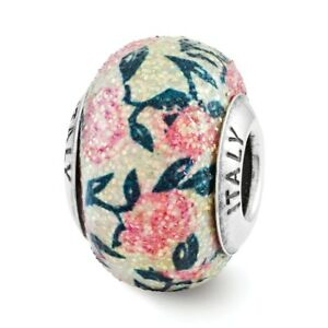 Pink Floral Overlay Glass Bead .925 Sterling Silver Antiqued Reflection Beads