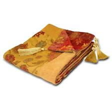 LUXURY GOLD RED TAPESTRY CHENILLE FLORAL BED TASSELED THROW BLANKET BEDSPREAD