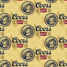 "New! Coors Golden Beer Cans Cotton Fabric Yardage 44"" Wide                    C3"