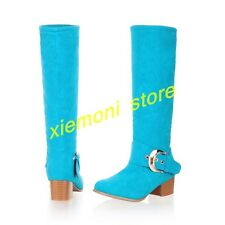 Women's Mid Calf Knee High Round Toe Slouch Comfort Casual Flat Boot All UK Size
