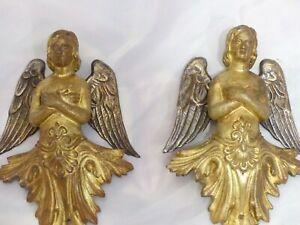 Angel Cherub Putti PAIR French Figural Bronze 19TH Pediment Furniture Salvage #1