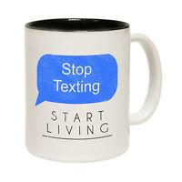 Funny Mugs - Stop Texting Start Living - Joke Gift Christmas Present NOVELTY MUG