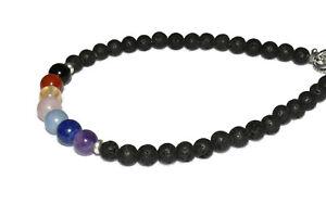 Black Lava Chakra Stones Anklet Bracelet Crystal Healing Natural Gemstones 6-8mm