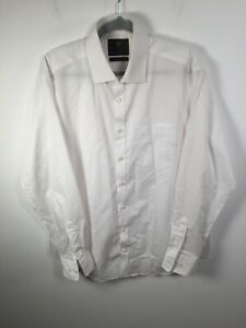 Marks and spencer mens white button up dress shirt size 42 long sleeve cotton