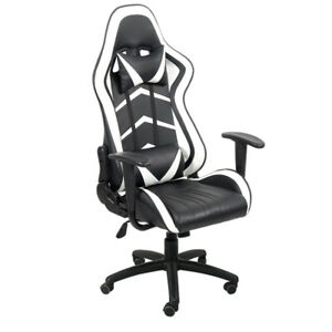 PC Gaming Chairs High Back Swivel Ergonomic Racing  Adjust Office Leather White