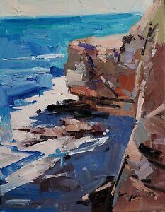 DJOSE TRUJILLO Oil Painting IMPRESSIONISM ORIGINAL COASTAL WATER ROCKS HILL NR