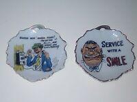 Lot of 2 Vtg. Trinket Dishes Bradley Japan Man Cave Barber Decor Service W/Smile