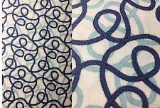 1/2 YARD Blue Nautical Ropes on White Cotton Fabric 18