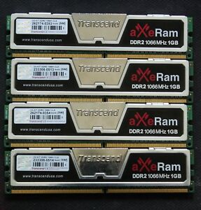 Lot of 4x1GB - 4GB DDR2 1066 - PC8500 memory - Transcend AXE RAM - TESTED