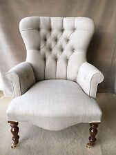 New Chair Armchair In Natural Linen Fabric *Handmade in the UK* Button