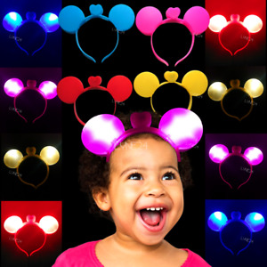 Xmas Led Headband Minnie Mouse Flashing Lights Colourful Children's Party