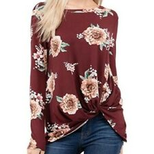 NWOT  Super Soft Floral Print Side Knot Long Sleeve Loose Fit Top Size Small