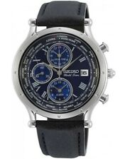 Seiko Mens World Time Special Edition Blue Chronograph Dial Watch SPL059P1