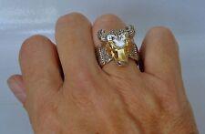 Konstantino Ring Bull Head Mens Sz 11 Sterling Silver 18K Yellow Gold Minos New