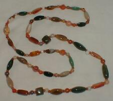 Large 52 Inches Beggar Beads Necklace Vintage 1967 No Clasp Semi-Precious Stones