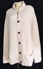 ST JOHN COLLECTION I54 Womens Cream 100% Cashmere Button Knit Sweater Coat Sz L