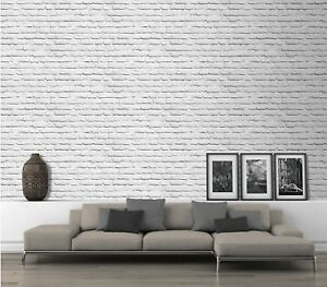 Muriva Realistic Painted White Faux Brick Realisitc Effect Wallpaper 102539