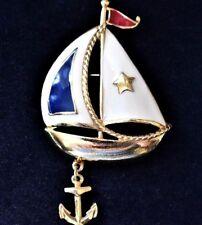 VTG 80s Avon Enamel Sailboat Yacht Nautical Brooch Signed Coat Pin Anchor Charm