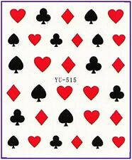 Nail Art Stickers Nail Water Decals Transfer Poker Aces Playing Cards Casino 515