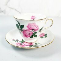 Queen Anne 8217 Tea Cup and Saucer Set Roses Bone China England Pink