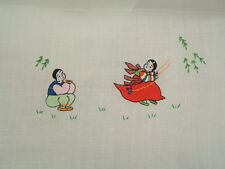 Vintage embroidered table runners with Asian style design set of two