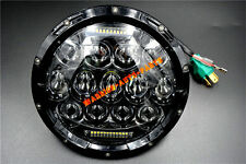 "7"" Round 75W LED Headlight Replacement with DRL Low and High Beam Black 1 Piece"