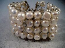 Hand Knitted Sterling  Silver Bracelet With White Freshwater Pearls, Handmade925